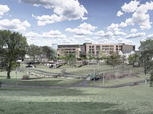 An architects vision of the new campus in Coleraine from the town side of Anderson Park.