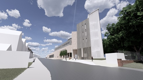 An architects vision of the new campus in Coleraine from Union Street.